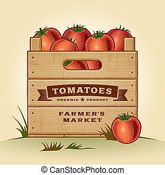 cajón, retro, tomates