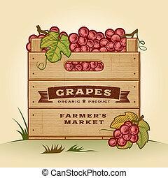 cajón, retro, uvas