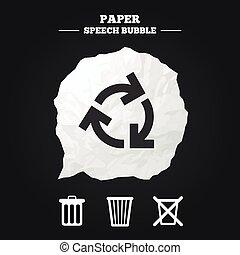 cajón, uso repetido, reducir, símbolo., icons., reciclar, o