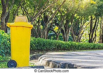 cajón, utilizado, texto, colocación, parque, amarillo, otoño