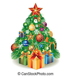 caja, árbol, regalo de navidad