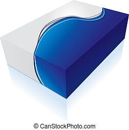 caja, 3d, icono