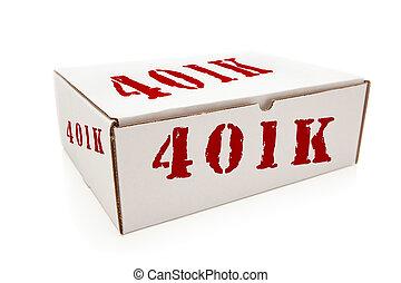 caja, 401k, blanco, aislado, lados