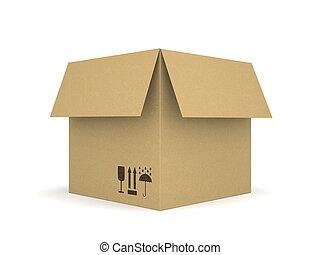 caja, aislado,  2, Plano de fondo, blanco, cartón