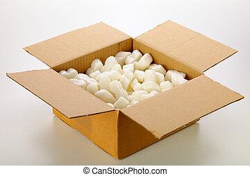 caja, aislado, amarillo, fondo., embalaje, blanco, cartón, ...