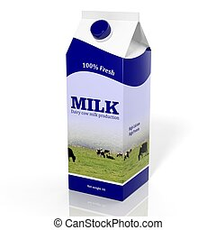caja, aislado, blanco, cartón, leche, 3d
