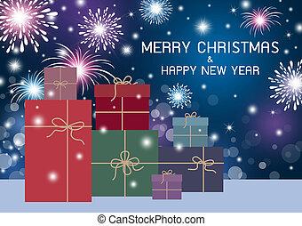 caja, alegre, regalo, fuegos artificiales, bokeh, diseño, plano de fondo, año, nuevo, navidad, feliz