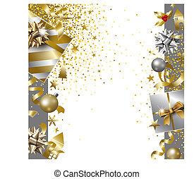 caja, alegre, regalo, ilustración, vector, diseño, lujo, plano de fondo, año, nuevo, caer, bandera, navidad, cinta, feliz
