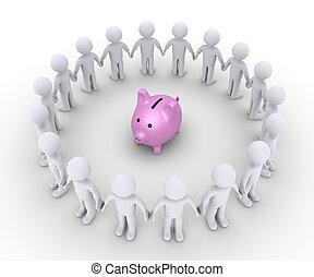 caja, alrededor, gente, dinero, él, cerdo