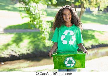 caja, ambiental, activista, tenencia, sonriente, cámara, ...