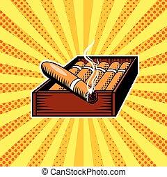 caja, arte, cigarro, taponazo, vector, ilustración