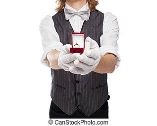 caja, asideros, corbata de lazo, anillo, hombre, afuera