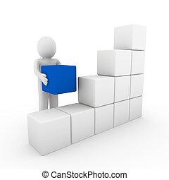 caja, azul, cubo, humano, blanco, 3d
