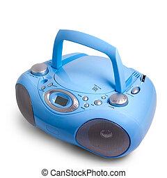 caja azul, estéreo, aislado, cd, radio, auge, registrador,...