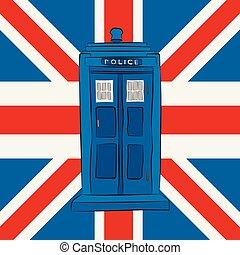 caja azul, policía, gato, unión
