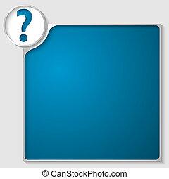 caja, azul, texto, signo de interrogación, cualesquiera, ...