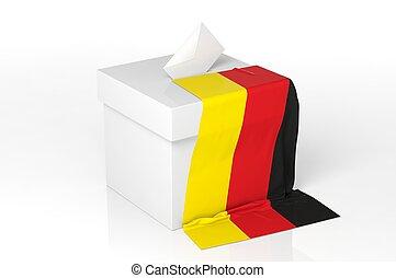 caja, bandera alemania, papeleta