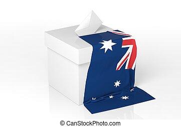 caja, bandera, australia, papeleta