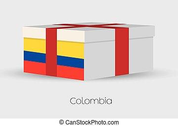 caja, bandera, colombia, regalo