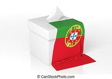 caja, bandera, papeleta, portugal