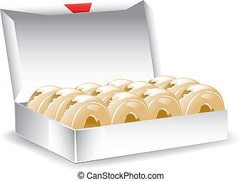 caja, barnizado, rosquillas