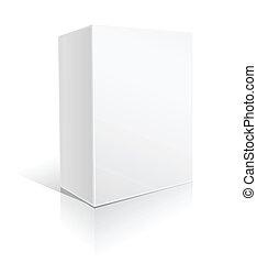 caja, blanco, cartón, software
