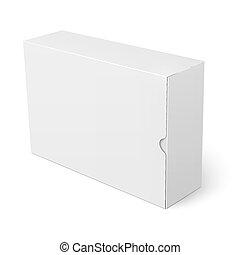 caja, blanco, cartón, template.