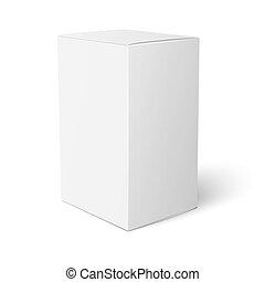 caja, blanco, papel, template.