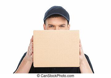 caja, box., joven, deliveryman, mirar, confiado, atrás, ...