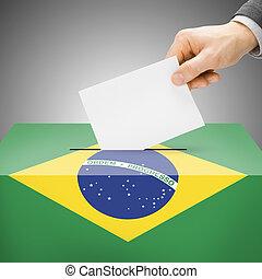 caja, brasil, pintado, nacional, -, bandera, papeleta
