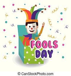 caja, bromista, mano, ondulación, fools, día, broma