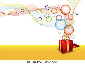 caja, burbuja, regalo