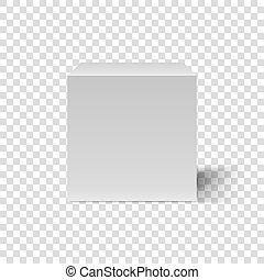 caja, cúbico, template., vista, frente, blanco, cube., 3d