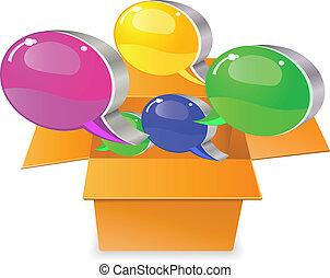 caja, cajas, charla, cartón, burbuja, afuera