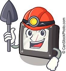 caja, carácter, amperio, minero, metro