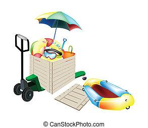 caja, carga, artículos, envío, camión de paleta, playa