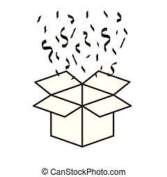 caja, cartón, abierto, aislado, icono