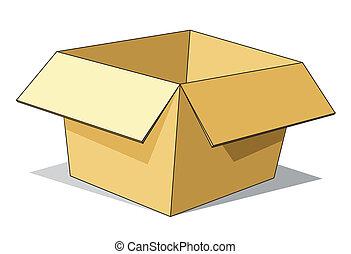 caja, cartón, caricatura