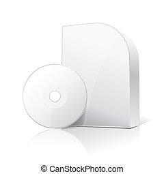 caja, cartón, software, disco, blanco