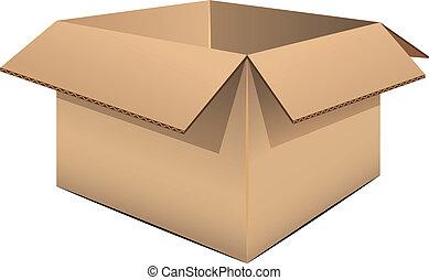 caja, cartón, vacío