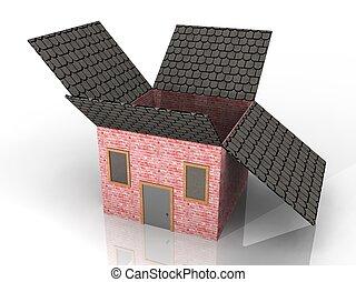 caja, casa, ilustración, formado