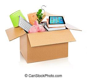 caja, casa, lleno, cartón, llenar