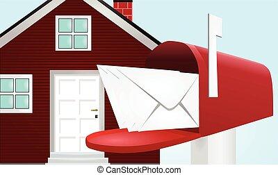 caja, casa, poste, vector