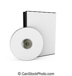 caja, cd/dvd, encima, plano de fondo, blanco, disco
