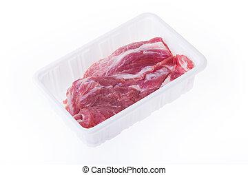 caja, cerdo, paquete, aislado, plástico, crudo, plano de fondo, blanco