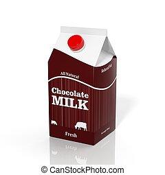 caja, choco, aislado, blanco, cartón, leche, 3d