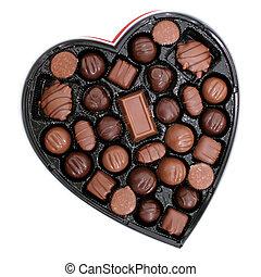 caja chocolates, en, un, forma corazón, (8.2mp, image)