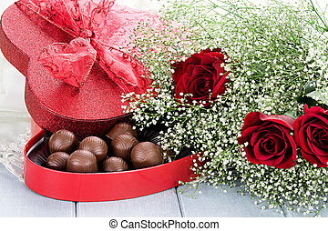 caja chocolates, y, beauitful, rosas