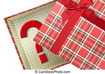 caja, cima, pregunta, presente, marca