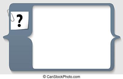 caja, clip, texto, signo de interrogación, papel,...